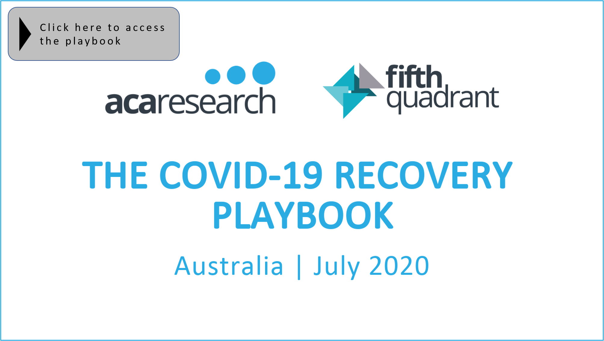 Planning For Recovery - The COVID-19 Recovery Playbook